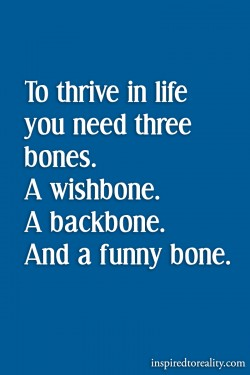 To thrive in life you need three bones A wishbone A backbone And a funny bone