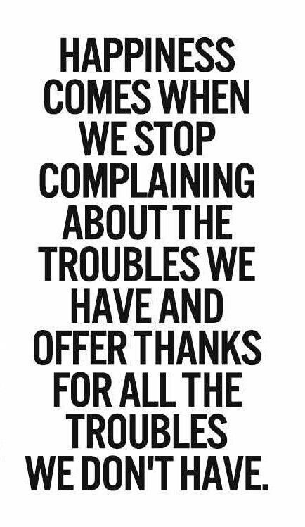 Happiness comes when you stop complaining about the troubles we have and offer thanks for all th ...