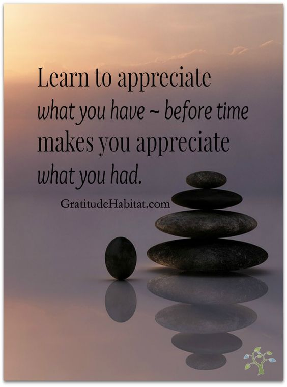 Learn to appreciate what you have – before time makes you appreciate what you had.