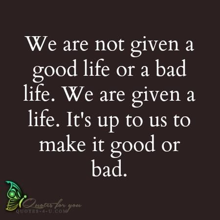 We are not given a good life or a bad life. We are given a life. It's up to us to make it  ...