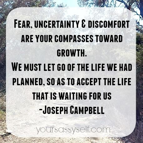 Fear, uncertainty & discomfort are your compasses toward growth. We must let go of the life  ...