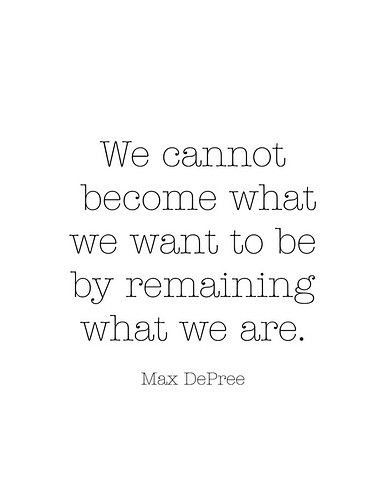 We cannot become what we want to be by remaining what we are.