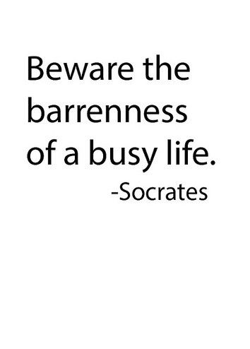 Beware the bareness of a busy life