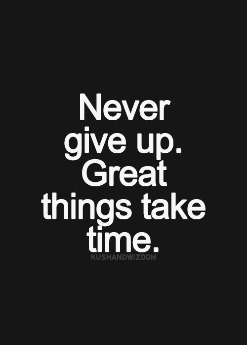 Never give up. Great things take times.
