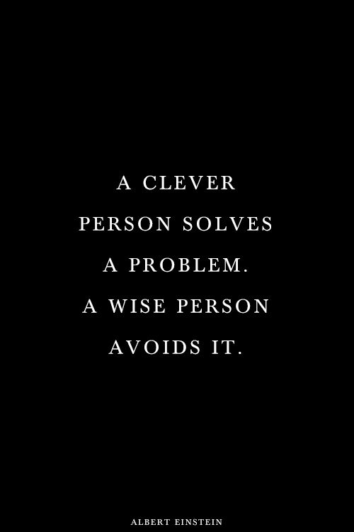 A clever man solves a problem. A wise person avoids it.