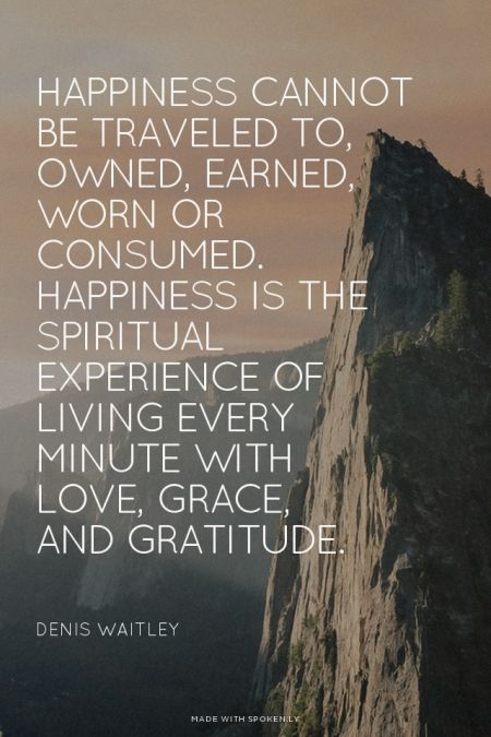Happiness cannot be traveled to, owned, earned, worn or consumed. Happiness is the spiritual exp ...