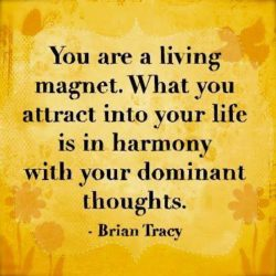 Your a living magnet. What you attract into your life is in harmony with your dominant thoughts.
