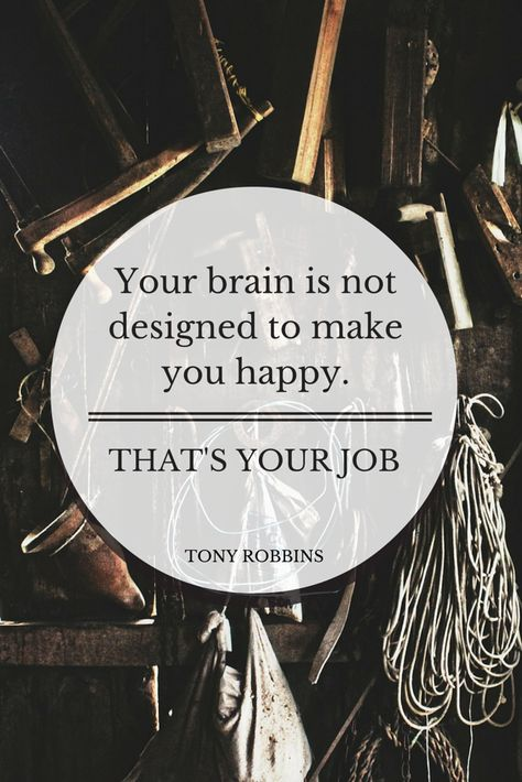 Your brain is not designed to make you happy. That's your job.