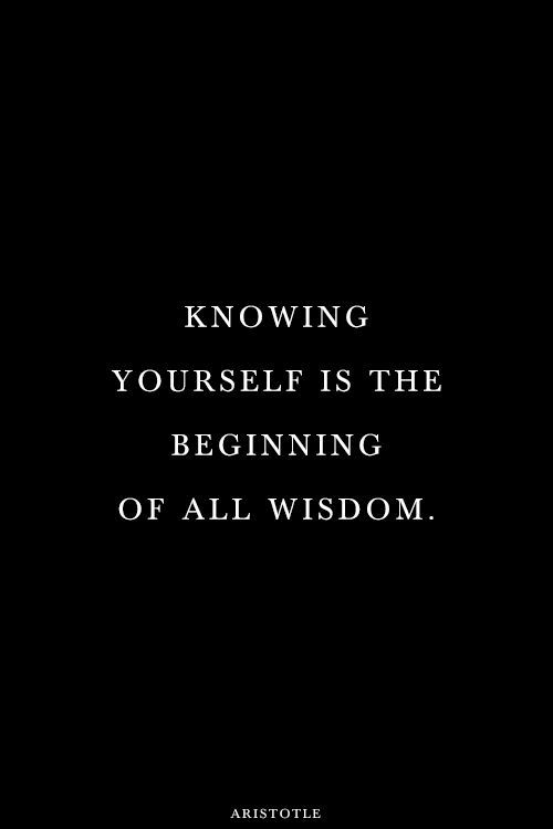 Knowing yourself is the beginning of all wisdome