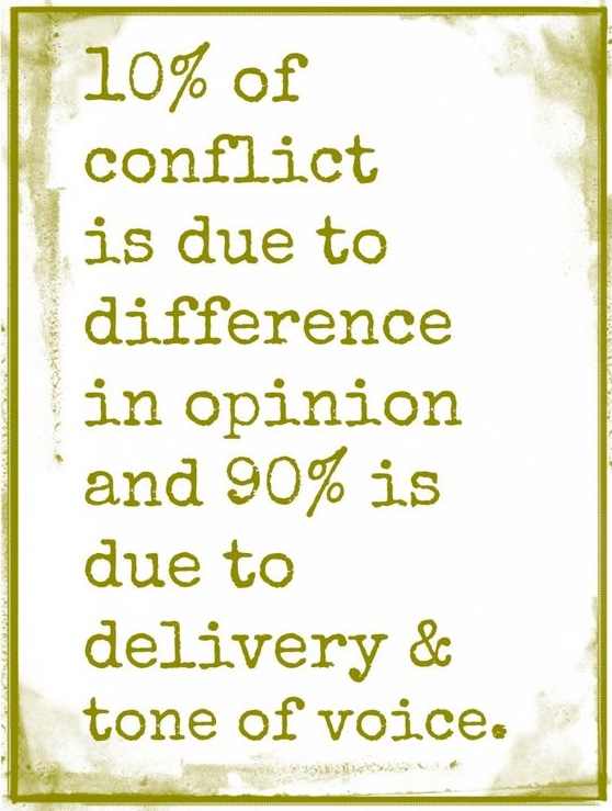 10% of conflict is due to difference in opinion and 90% is due to delivery & tone of voice.