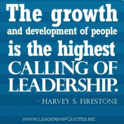 The growth and development of people is the highest ceiling of leadership.