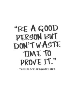 Be a good person but don't wast your time to prove it.