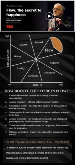 Flow, the secret to Happiness. Listen to the amazing TED Talk here.