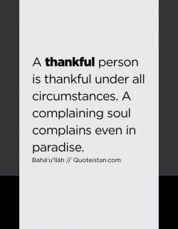 A thankful person is thankful under all circumstances. A complaining soul complains even in para ...