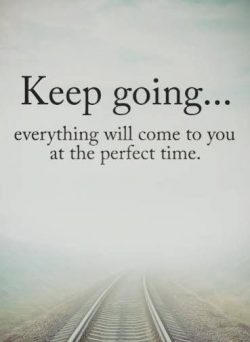 Keep going… everything will come to you at the perfect time.