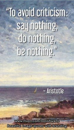 To avoid criticism: say nothing, do nothing, be nothing.