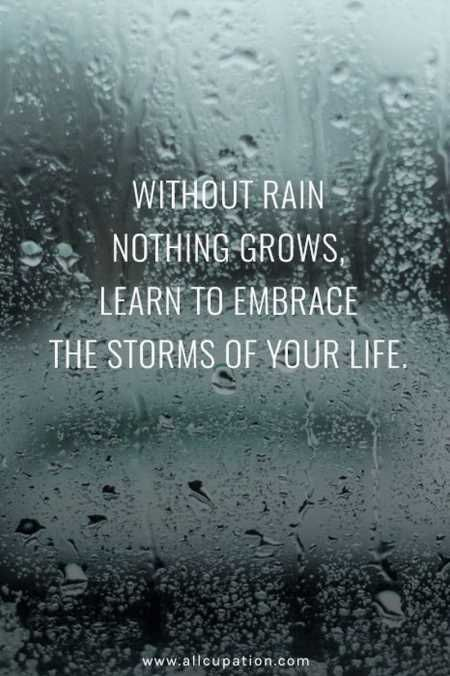 Without rain, nothing grows. Learn to embrace the storms of your life.