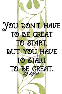 You don't have to be great to start, but you have to start to be great. – Zig Ziglar