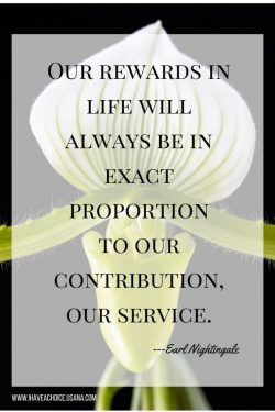 Our reward in life will be always be in exact proportion to our contribution and  our service.   ...