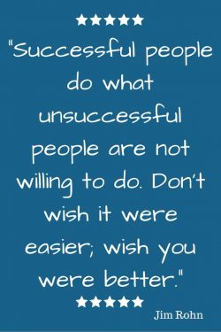 Successful people do what unsuccessful people are not willing to do. Don't wish it were ea ...